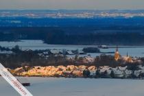 Winterlicher Blick auf Störmede vom Turm des Milke Zementwerks